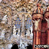 Barcelona, Spain Composite of Two Photos<br /> Two photos of Barcelona, Spain are The Nativity Fa&ccedil;ade of the Bas&iacute;lica i Temple Expiatori de la Sagrada Fam&iacute;lia which started construction in 1882 and now has an estimated completion date in 2026 and Detail of Arc de Triomf red brick columns and angel sculptures.