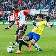 ROTTERDAM - Feyenoord - SC Cambuur , Voetbal , Seizoen 2015/2016 , Eredivisie , Feijenoord Stadion De Kuip , 06-03-2016 , Speler van Feyenoord Eljero Elia (l) in duel met  SC Cambuur speler Erik Bakker (r)