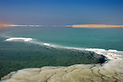 Israel, Dead sea, salt formation caused by the evaporation of the water