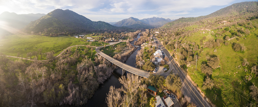 Aerial panorama of Three Rivers, California, just outside of Sequoia National Park.