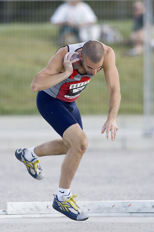 12 July 2007 (Windsor--Canada) -- The 2007 Canadian National Track and Field Championships... Fr?d?rick Bouchard competing in the decathlon shot put.