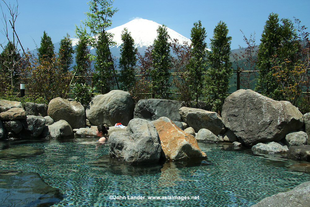 """Tenkei Hot Springs near Mt Fuji has a variety of baths, including this """"rotemburo"""" or outdoor bath with Mt Fuji in background."""