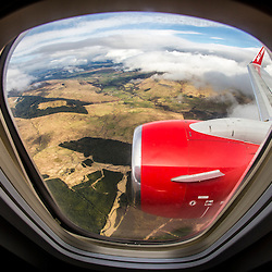 Jet2.com flight heading back to Glasgow Airport, Scotland
