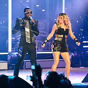 """COLUMBIA, MD - June 9th, 2011: Will.I.Am. and Fergie of the Grammy Award-wining hip-hop group The Black Eyed Peas perform at Merriweather Post Pavilion in Columbia, MD. The group recently released the single """"Don't Stop The Party"""" from their sixth studio album, The Beginning. (Photo by Kyle Gustafson/For The Washington Post)"""