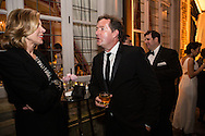 Actress Christine Baranski, left, talks with Piers Morgan at the Bloomberg Vanity Fair White House Correspondents' Association dinner afterparty at the residence of the French Ambassador on Saturday, April 28, 2012 in Washington, DC. Brendan Hoffman for the New York Times