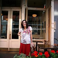 Owner Stacey Sosa outside Estancia 460. Shot at the restaurant on May 25th, 2007..Photo Credit; Rahav Segev/Photopass