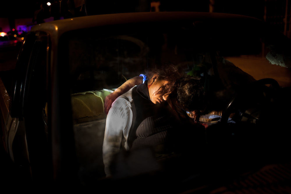 The scene of the murder of two individuals holding each other, one man and one woman who appeared to be pregnant in the Morelos 3 colonia in Ciudad Juarez, Chihuahua Mexico on May 4, 2010.