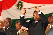 Pierre Nkurunziza holding the stick of symbol of power as he swears-in as new president of Burundi at the parliament in Bujumbura, 26 August 2005. ONUB/Martine Perret