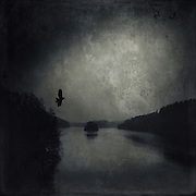 Lake on a cold and dark winter day - manipulated photograph
