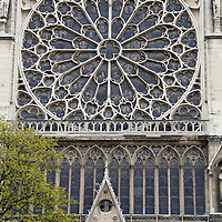 Europe, France, Paris. Exterior windows of Notre-Dame Cathedral.