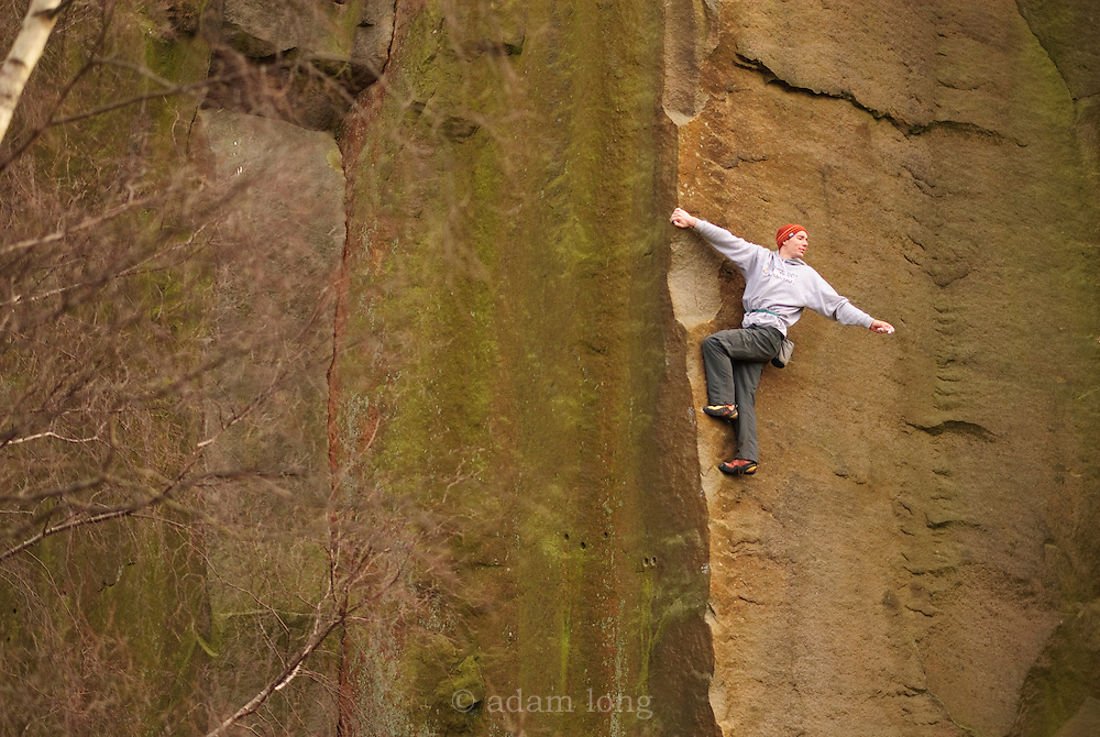 Alex Honnold soloing Edge Lane, E5, Millstone, Peak District