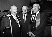 30/11/1992<br /> 11/30/1992<br /> 30 November 1992<br /> Conferring of Honorary Degrees (LL.D.) by the National Council for Educational Awards in Dublin Castle Conference Centre, Dublin. Picture shows Taoiseach Albert Reynolds, T.D. centre with (unknown) and Mr. Padraig Faulkner on right.