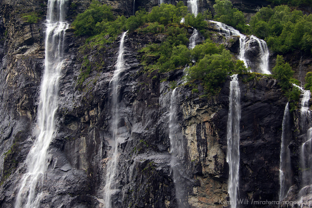 Europe, Norway, Geiranger. The Seven Sisters Waterfalls, in Geiranger.