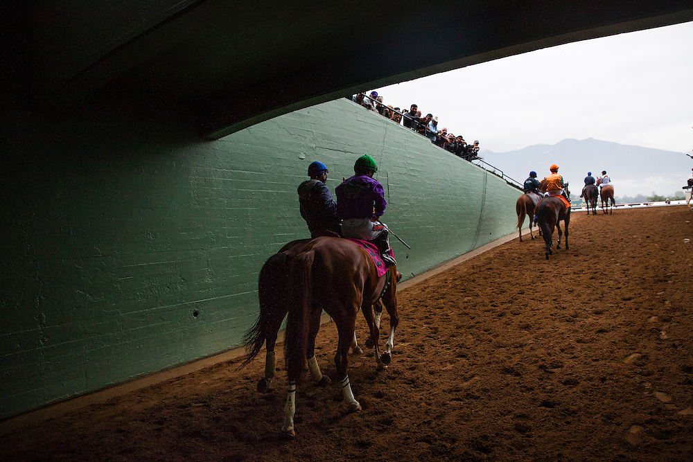 February 07 2015: California Chrome and Victor Espinoza walk to the track for the San Antonio Stakes at Santa Anita Park in Arcadia CA. Alex Evers/ESW/CSM`