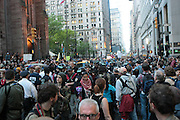 May 1, 2012- New York, United States- Occupy WallStreet and various Unions about 20,000 strong, celebrate May Day with March/Parade down Broadway in New York City with calls for General Strike-with No Work-No Housework-No shopping-No School. Occupy Wall Street is a leaderless resistance movement with people of many colors, genders and political persuasions. Their belief holds that one thing we all have in common is that We Are The 99% that will no longer tolerate the greed and corruption of the 1%. We are using the revolutionary Arab Spring tactic to achieve our ends and encourage the use of nonviolence to maximize the safety of all participants. (Photo by Terrence Jennings).