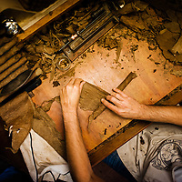 TAMPA, FL -- July 2012 -- Handmade cigars are rolled by Xavier Lorenzo at Tabanero Cigars in Ybor City. (PHOTO /CHIP LITHERLAND)