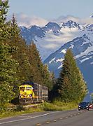 Alaska.  Alaska Railroad traveling north paralleling the Seward Hwy.