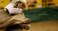 Jonathan Ferreira of Fort Jones, CA scored a 7.4 in steer wrestling on the first night of the Snake River Stampede at the Idaho Center in Nampa