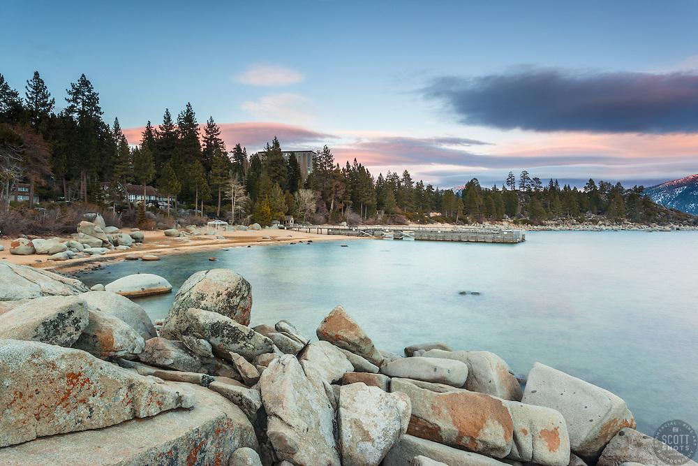 """Tahoe Boulders at Sunset 11"" - Photographs of boulders and Lake Tahoe shot at Speedboat Beach in North Lake Tahoe."
