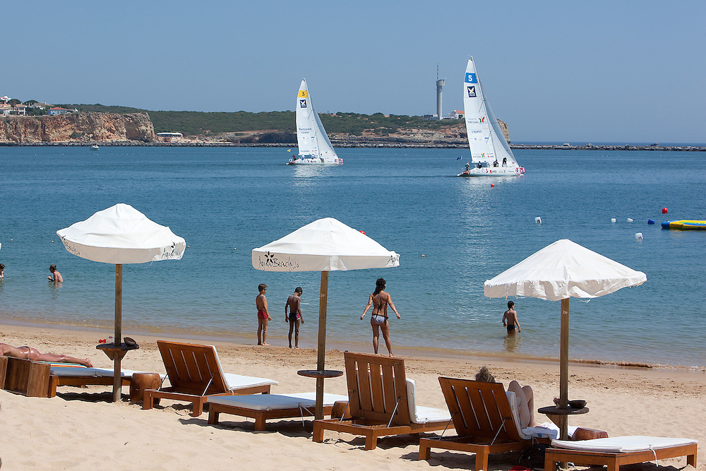 The view from Rocha Beach as the yachts leave the harbour. Portimao Portugal Match Cup 2010. World match Racing Tour. Portimao, Portugal. 23 June 2010. Photo: Gareth Cooke/Subzero Images