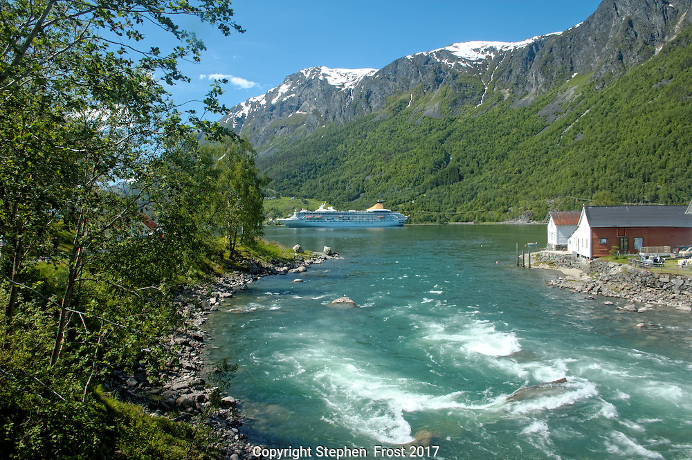 Norwegian scenic river and fjord.