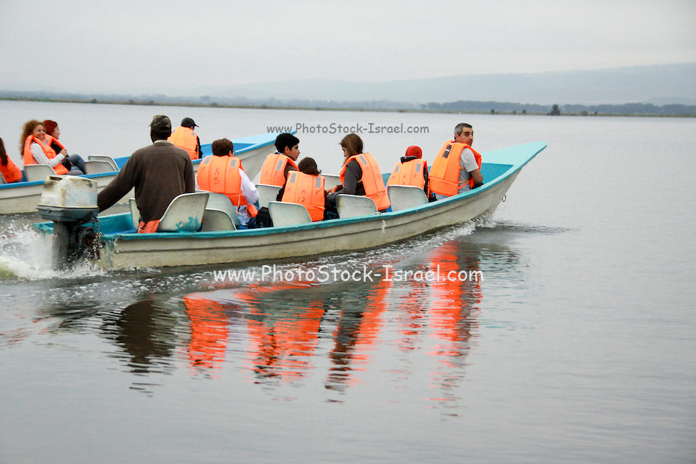 Kenya, lake naivasha, The crater lake, Tourist sightseeing on an open boat