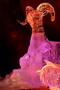 Ice sculpture lit with colored lights. Ice museum, Fairbanks, Alaska.