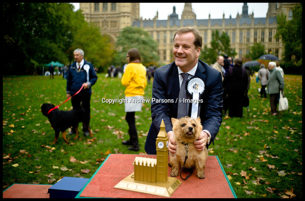 Winner of the Westminster Dog of the Year Star. Owned by Charles Elphicke MP stands by it's new prize as Politicians and their dogs take part in Westminster Dog Of The Year, Thursday October 25, 2012. Photo by Andrew Parsons / i-Images