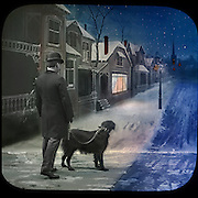 Vintage Photo, circa 1910 hand colored winter night scene of man walking his dog in a snowy town's street (a studio set).