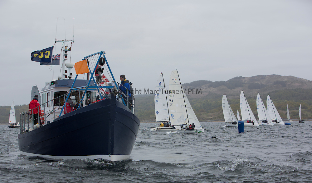 Day two of the Silvers Marine Scottish Series 2015, the largest sailing event in Scotland organised by the  Clyde Cruising Club<br /> Racing on Loch Fyne from 22rd-24th May 2015<br /> <br /> VX One fleet start with CV Runa<br /> <br /> Credit : Marc Turner / CCC<br /> For further information contact<br /> Iain Hurrel<br /> Mobile : 07766 116451<br /> Email : info@marine.blast.com<br /> <br /> For a full list of Silvers Marine Scottish Series sponsors visit http://www.clyde.org/scottish-series/sponsors/