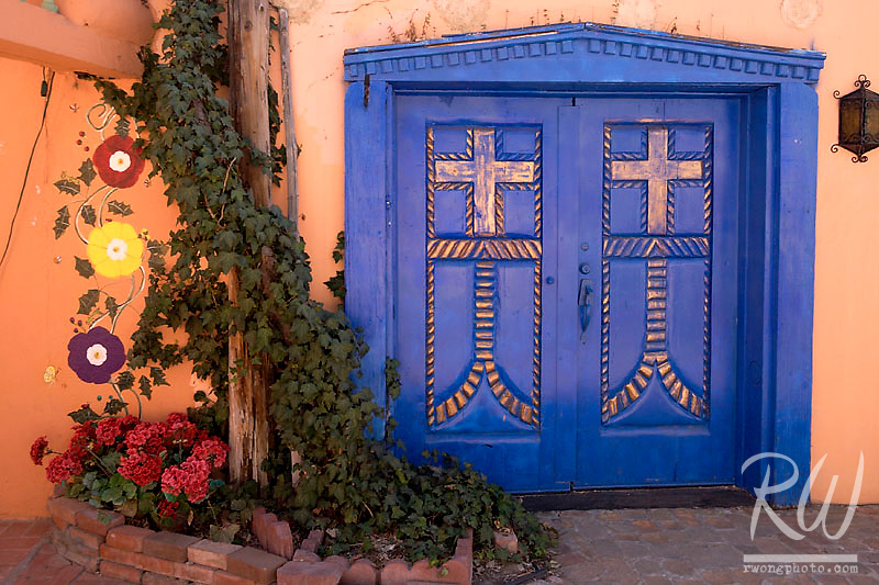 Blue Door and Ivy at Old Town Plaza, Albuquerque, New Mexico