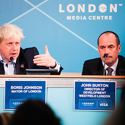 London, UK - 9 August 2012: Mayor Boris Johnson (L) and John Burton (R) during the Press Conference 'Delivering a lasting legacy from the London 2012 Games' at the London Media Centre.