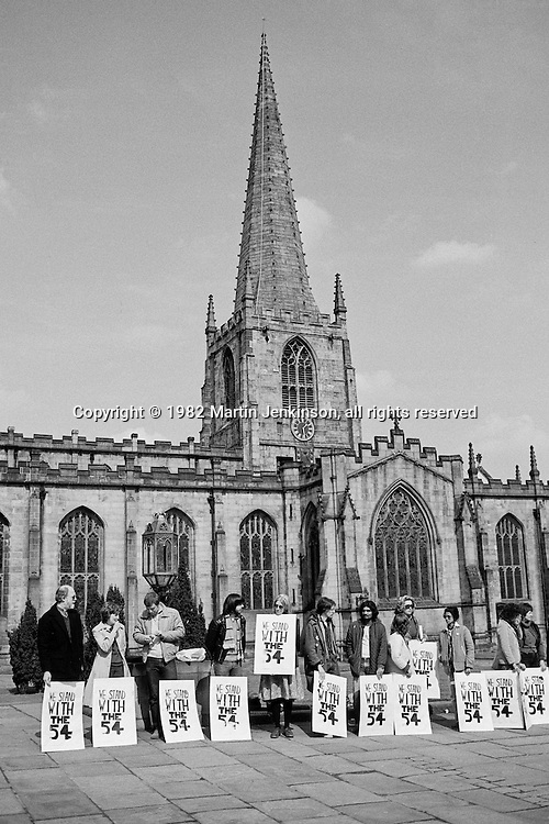 Anti Aparthied Movement vigil in support of hunger strikers in South Africa. Sheffield Cathedral 02-04-1982