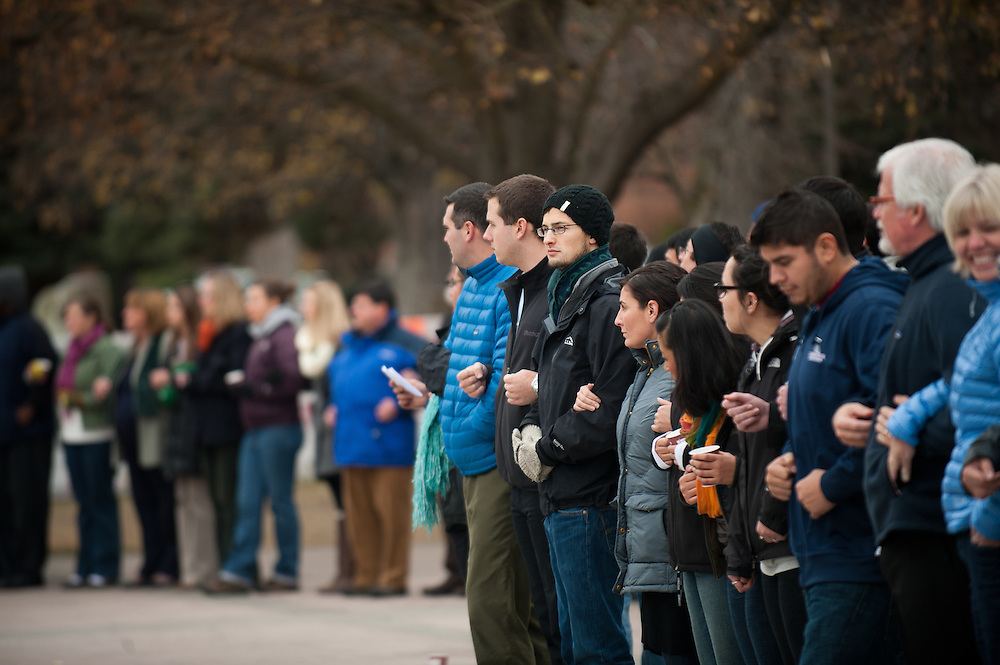 Hundreds of students, faculty, and staff joined arms in front of Crosby to show solidarity during the International Day of Tolerance on Nov. 16, 2011.<br /> <br /> Photo by Rajah Bose