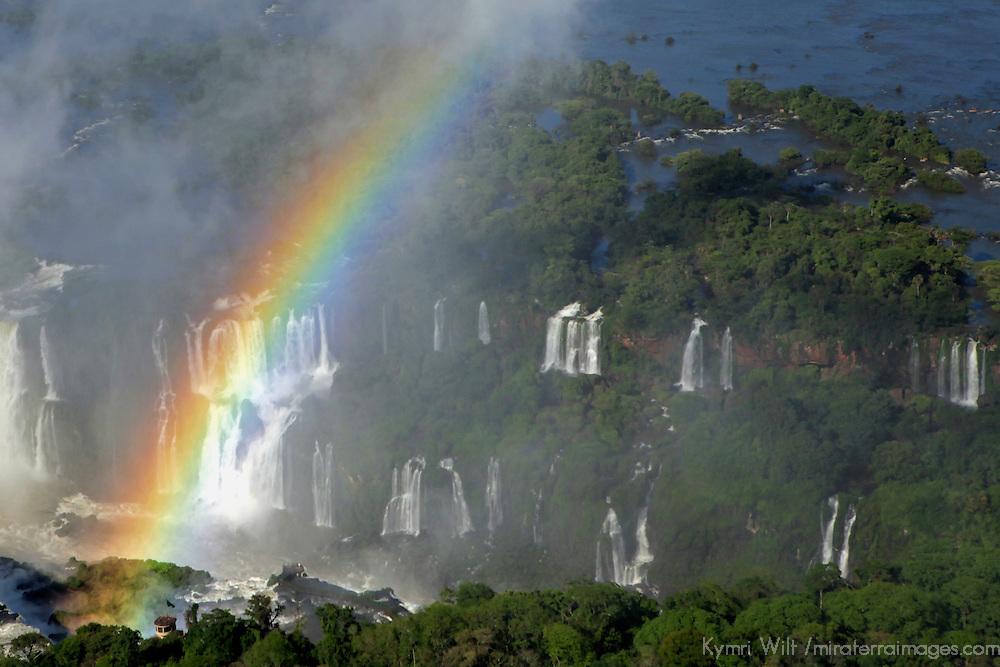 South America, Brazil, Iguacu Falls. Rainbow in the mist at Iguacu Falls.