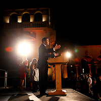 CORAL GABLES, FL -- November 2, 2010 -- Republican Senate candidate Marco Rubio speaks after his win was called at The Biltmore Hotel in the Coral Gables area of Miami, Fla., on the Mid-Term Election Day on Tuesday, November 2, 2010.  Rubio won the three-way race for the seat over Independent Gov. Charlie Crist and Democrat Kendrick Meek.