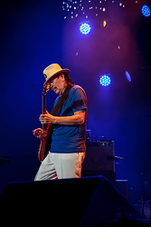 LOS ANGELES, CA - AUGUST 28 Legendary guitar player Carlos Santana performed some of his standard material along new material from Santana IV with his band at the Forum in Inglewood in Los Angeles on Sunday night 2016 August 28. Byline, credit, TV usage, web usage or linkback must read SILVEXPHOTO.COM. Failure to byline correctly will incur double the agreed fee. Tel: +1 714 504 6870.