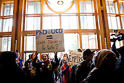 Students protest in UC Davis' Dutton Hall as part of a general strike, November 28, 2011.