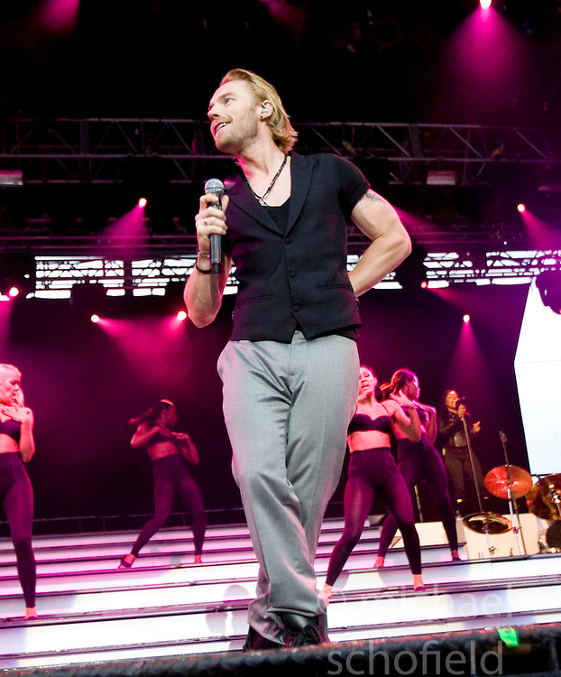 Ronan Keating of Boyzone, the Irish vocal pop group, perform on stage at Edinburgh Castle, July 18, 2008.