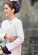 7-10-2014   COPENHAGEN - Crown Princess Mary, Crown Prince Frederik Princess Marie, Prince Joachim Princess Benedikte and Queen Margrethe,  at the opening of the Danish parliament (The Folketinget) at Christiansborg Castle, Copenhagen, Denmark. October 7, 2014. COPYRIGHT ROBIN UTRECHT