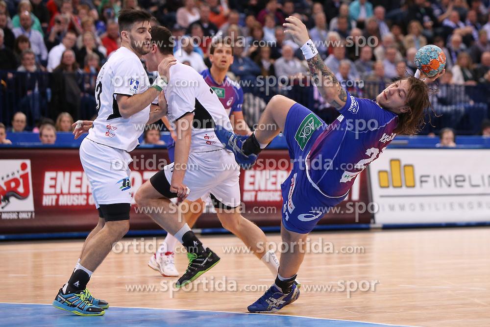 HANDBALL:  Germany 1. Bundesliga, Hamburg, 13.02.2014<br />Andreas Nilsson (HSV HandBall) - Nenad Vuckovic (MT Melsungen)<br /> copyright: pixathlon