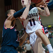 David Stockton gets fouled in the men's WCC semifinal. (Austin Ilg photo, Gonzaga Bulletin)