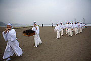 Shinto priests carrying seweed for the shrine after the morning purification in the sea of Kamakura, at 5 am on the first day of the 3-day anual ritual of Tsurugaoka Hachimangu Shrine in Kamakura. They later place it outside the shrine buildings for protection.