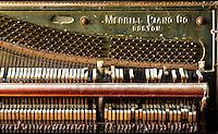 Merrill 1934 Piano Company, Boston. Abandoned upright piano inside an old poor house in upstate NY.