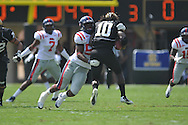 Ole Miss' Mike Marry (52) sacks Vanderbilt quarterback Larry Smith (10) in Nashville, Tenn. on Saturday, September 17, 2011. Vanderbilt won 30-7..
