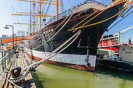 Peking Clipper ship, South Street Seaport, Lower Manhattan Skyline, New York City, New York, USA