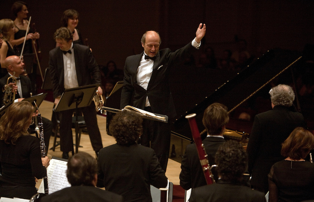 Music Director and Conductor Ivan Fischer with pianist Andras Schiff and the Budapest Festival Orchestra at Carnegie Hall in Manhattan, NY on October 29, 2011.