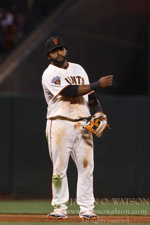 Sep 26, 2011; San Francisco, CA, USA;  San Francisco Giants third baseman Pablo Sandoval (48) stands in the infield against the Colorado Rockies during the fifth inning at AT&T Park. San Francisco defeated Colorado 3-1.