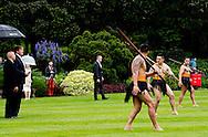 7-11-2016 WELLINGTON - King Willem-Alexander and Queen Maxima of The Netherlands during the Powhiri met Wero ceremonial challenge by Toa-Maori warrior and Haka Pohwhiri welcome ceremony at the Government House in Wellington, New Zealand, 7 November 2016. After the ceremony the King and Queen meet Governor General Dame Patsy Reddy and her husband Sir David Gascoigne in the Porrit Room. The Dutch King and Queen are in New Zealand for an 3 day state visit. COPYRIGHT ROBIN UTRECHT  koning willem alexander en koningin maxima brengen een 3 daags staatsbezoek aan nieuw-zeeland nieuw zeeland Welkomstceremonie (Government House) Gesprek Gouverneur-generaal Dame Patricia Reddy Toelichting op Pōwhiri, de Māori welkomstceremonie, door Kaumātua. Aanvang Pōwhiri met Wero, ceremoni&euml;le uitdaging door Toa- Māori krijger.De Koning en Koningin worden benaderd door Toa, de hoofdkrijger. Toa legt houten &lsquo;dart&rsquo; voor voeten van de Koning en Koningin.De Koning zet pas voorwaarts en raapt &lsquo;dart&rsquo; op. Korte dans door Toa, slaat op been ten teken dat de bezoekers welkom zijn en voegt zich bij de Māori-groep.De Koning zet pas achterwaarts en neemt positie naast de Koningin weer in. <br /> Haka Powhiri (traditionele Māori welkom). Begroeting leden Kapa Haka met hongi (traditionele Māori begroeting, bestaand uit het beroeren van neuzen en voorhoofden