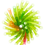 Abstract drinking straws from above